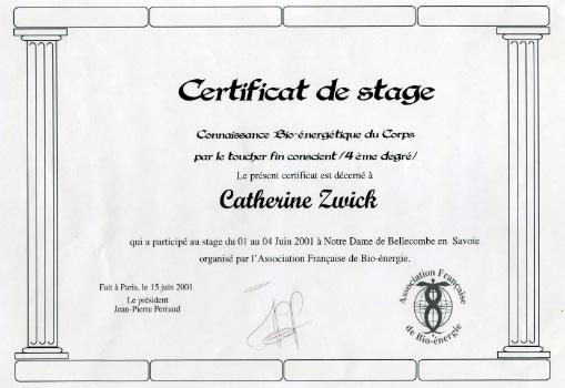 Certificat - Connaissance Bio-énergétique du Corps