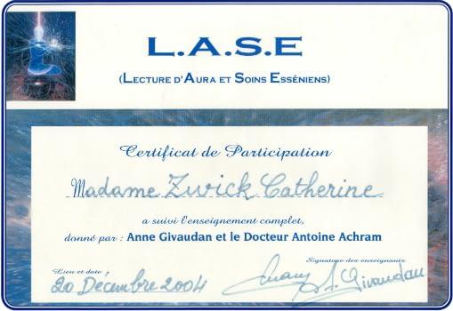 Certificat Lecture d'Aura Et Soins Esséniens